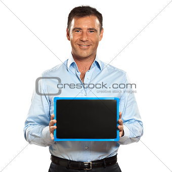 one man holding a blackboard copy space message