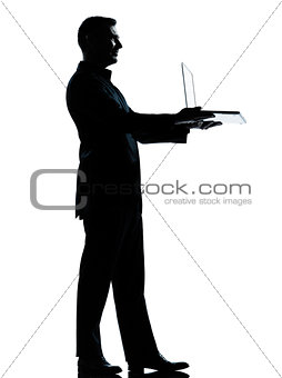 one business man silhouette showing holding offering holding com