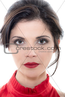 beautiful serious  caucasian woman portrait