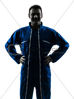 man construction worker smiling friendly silhouette portrait