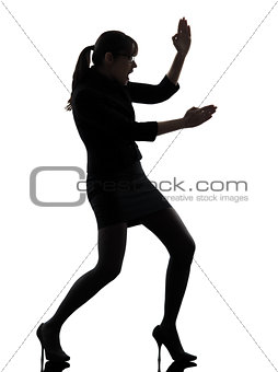 business woman karate self defense silhouette