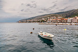 Boat and Coastline of Town Senj near Istria, Croatia