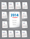 Calendar for 2014 year on sticky notes attached to the backgroun