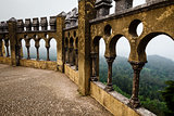 Open Arch Windows in Pena Palace with View on City of Sintra, Po