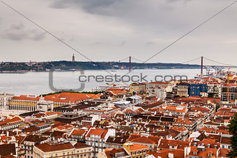 Aerial View on Lisbon and 25 Abril Bridge, Portugal