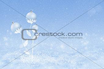 Christmas balls on the stems
