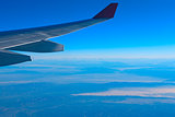 Air travel in the blue sky