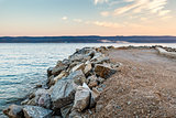 Breakwater on Makarska Riviera at Sunset, Croatia