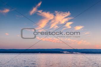 Beatiful Sunset on Makarska Riviera, Dalmatia, Croatia