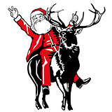 Santa Claus to ride a deer
