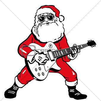 Santa Claus with electric guitar