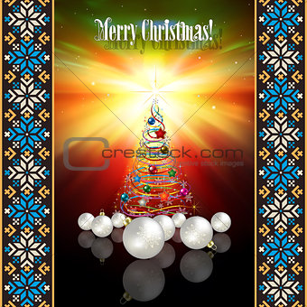 abstract greeting with Christmas tree and decorations