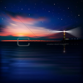 abstract background with sunset and lighthouse