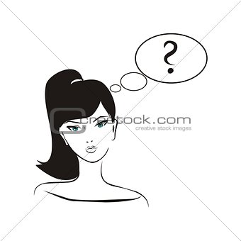 Young, hand drawn in simply glamour design style, thinking girl with black hair and question mark in bubble speech