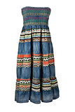 Women's long denim dress with embroidery