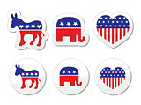 USA political parties symbols: democrats and repbublicans