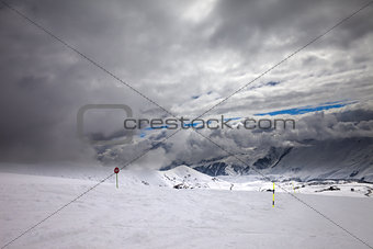 Ski slope at bad weather