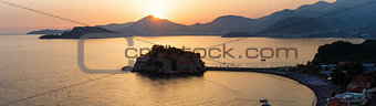 Sunset and Sveti Stefan sea islet (Montenegro)