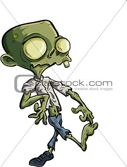 Cartoon zombie with ripped clothes
