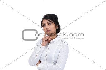 Beautiful Asian businesswoman thinking