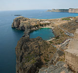 St Paul's Bay at Lindos on the Island of Rhodes Greece