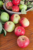 fresh summer apples on wooden table