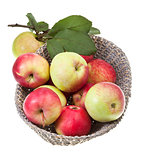 basket with red and yellow apples isolated
