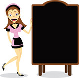 Waitress and blank Blackboard