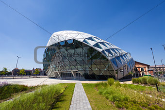CET Budapest modern whale shaped building on the bank of Danube