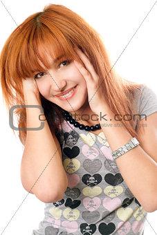Portrait of joyful beautiful red-haired girl