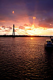 Sunset on the town river  in Riga