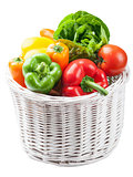 colorful vegetables in basket isolated