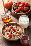 healthy breakfast with muesli and berry