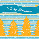 Christmas card with fir trees and stripes