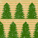 Seamless pattern with fir trees and stripes