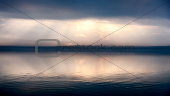 Fog in Passignano at Lake Trasimeno, Umbria, Italy