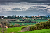 Landscape with green fields in Umbria
