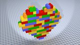 Colourful Heart Bricks Constructed on White Base