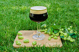 Dark beer with hops on grass