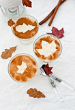 Creamy mousse with cinnamon in a glass sundae dish
