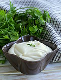 fresh homemade mayonnaise with olive oil and egg