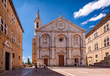 Pienza square of cathedral Tuscany, Italy.