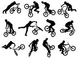12 bmx stunt silhouettes