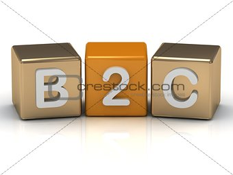 B2C Business to Consumer symbol on gold and orange cube