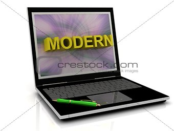 MODERN message on laptop screen
