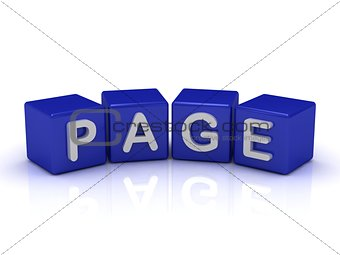 PAGE word on blue cubes