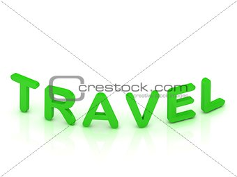 TRAVEL sign with green letters