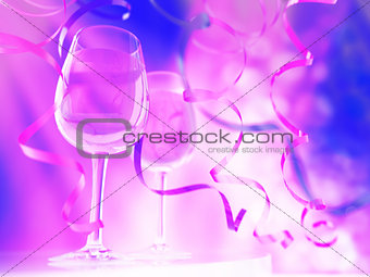 Champagne in glasses and ribbons on celebration event