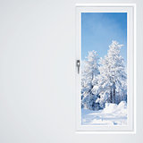 light wall, window and beautiful winter landscape