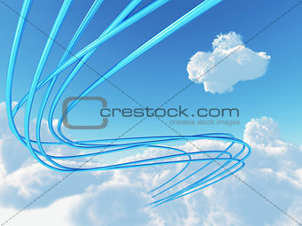 blue metallic cables connected to cloud an invironment of bright sky
